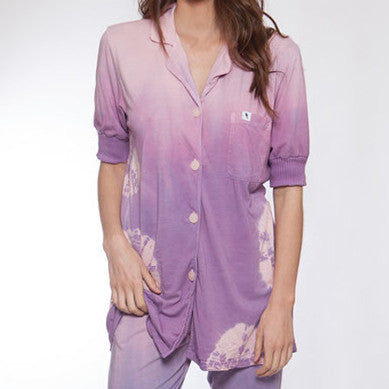 Short Sleeve Hand Dyed Pink & Purple Pajama Top - XL