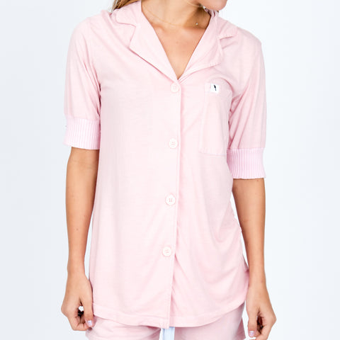 Short Sleeve Pajama Top - Rose