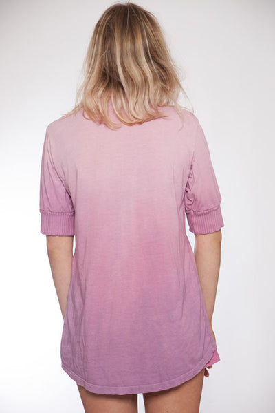 Short Sleeve Hand Dyed Pink Ombre Pajama Top - M