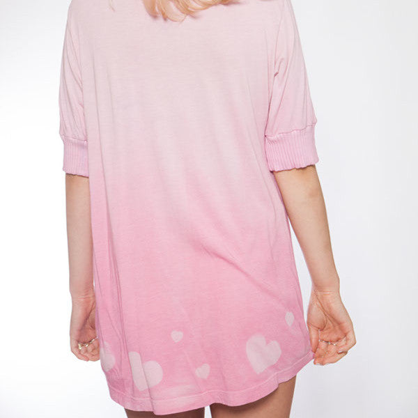Short Sleeve Hand Dyed Pink Hearts Pajama Top - L