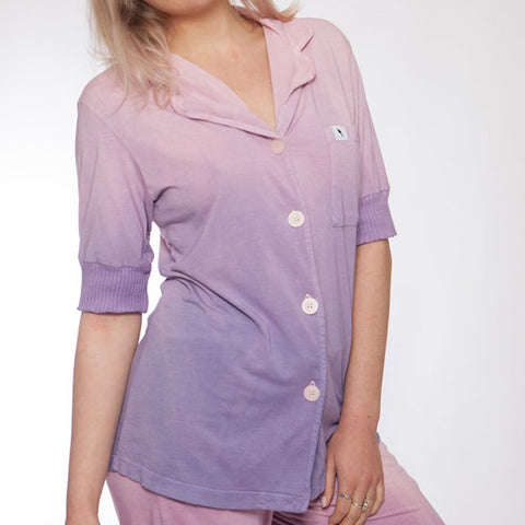 Short Sleeve Hand Dyed Pink and Purple Ombre Pajama Top - S