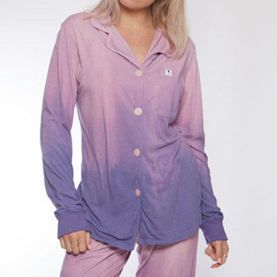 Long Sleeve Hand Dyed Ombre Pink/Purple Pajama Top - M