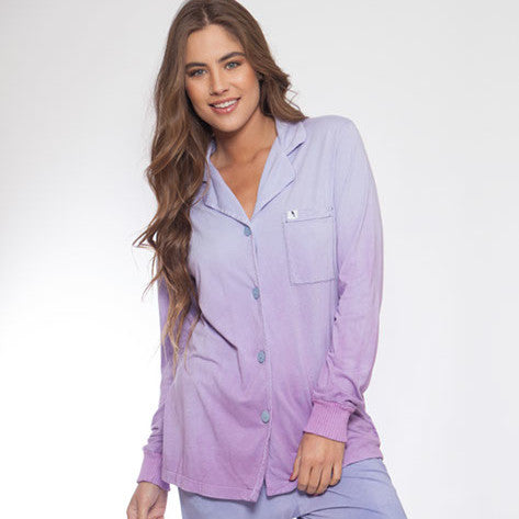Long Sleeve Hand Dyed Purple Ombre Pajama Top - M