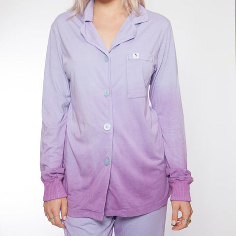 Long Sleeve Hand Dyed Purple Ombre Pajama Top - L