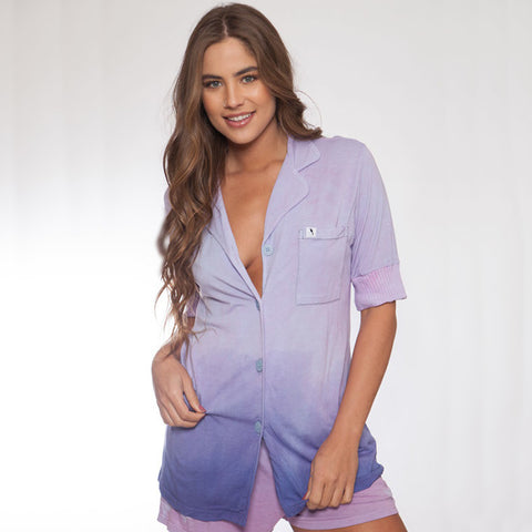 Short Sleeve Hand Dyed Purple Ombre Pajama Top - M