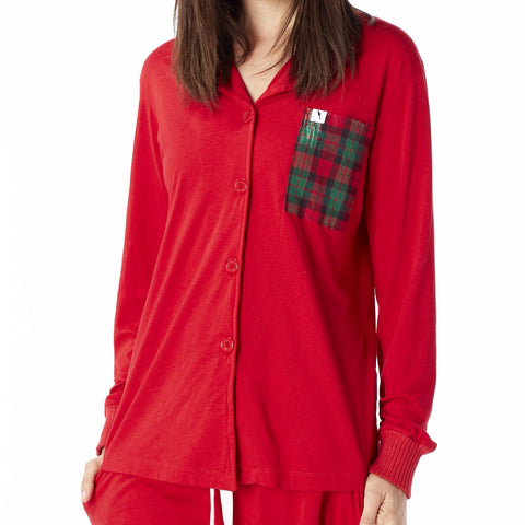 Long Sleeve Pajama Top - Santa