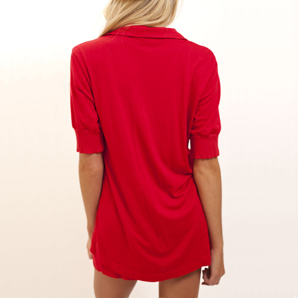 Short Sleeve Pajama Top - Santa