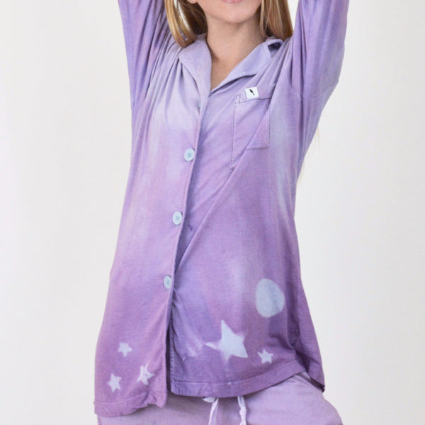 Long Sleeve Purple Ombre Starry Night - M