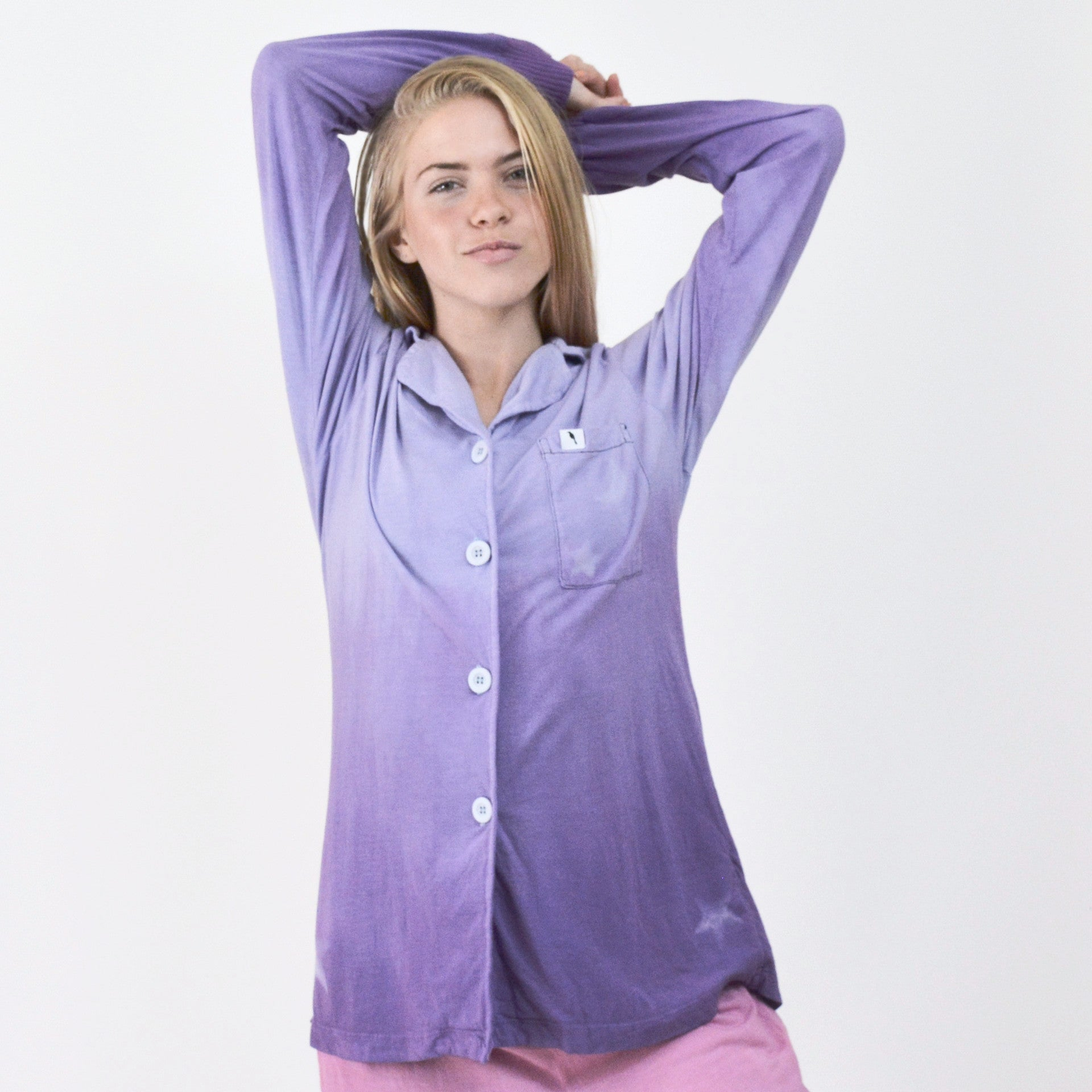Long Sleeve Dip Dyed Star Pajama Top - M