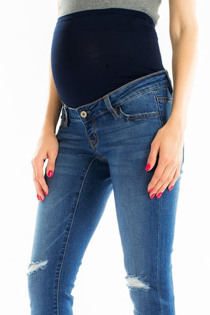 "KanCan Maternity Jeans Collection: Summer 2019 Color: Light Wash Cut: Skinny, 28.5"" Inseam Rise: Low-Rise with Stretch Band, 5"" Material: 54% COTTON 34% RAYON 10% POLYESTER 2% SPANDEX Style #: KC6275L Kan Can Size Guide: Compared to Juniors: 0/23 1/24 3/25 5/26 7/27 9/28 11/29 13/30 15/31 Compared to Womens: 23/0 24/2 25/2 26/4 27/6 28/8 29/10 30/12 31/14"