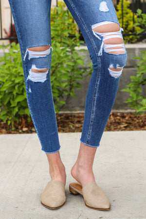 "Flying Monkey Jeans Collection: Summer 2020 Style Name: All Your Love  Color: Medium Wash Cut: Ankle Skinny, 27"" Inseam Rise: Mid-Rise, 9-9.5"" Front Rise Material: 76% COTTON, 17% TENCEL®LYOCELL, 5% POLYESTER(T400), 2% LYCRA®SPANDEX Machine Wash Separately In Cold Water Stitching: Classic Fly: Zipper Style #: Y3603"