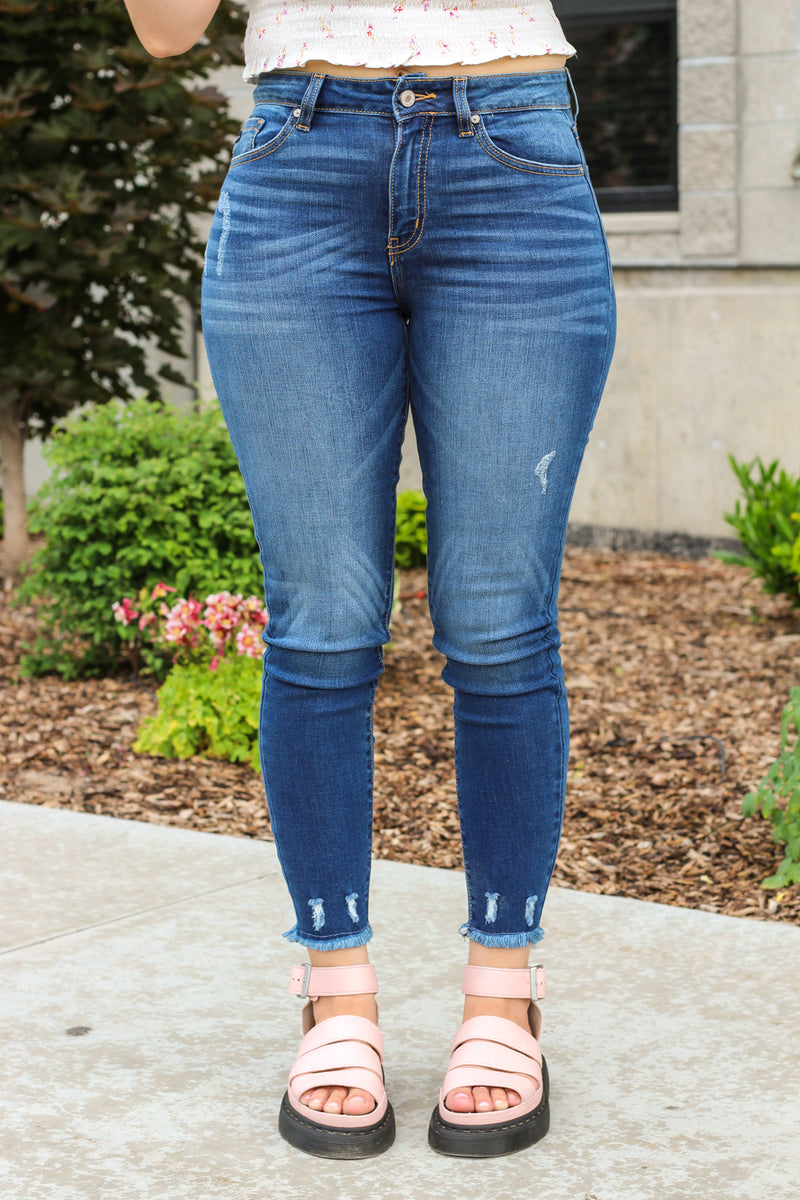 Kan Can Jeans High Rise Distressed Skinny Jeans Kc8409d American Blues