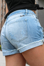 "Mid Rise Boyfriend Shorts By Kan Can  Collection: Summer 2020 Cuffed Shorts Mid Rise waist, 8.5"" Front Rise Shorts, 3"" Inseam Light Wash Material: 100% COTTON  Stitching: Classic Fly: Zip Fly Style #: KC5142L"