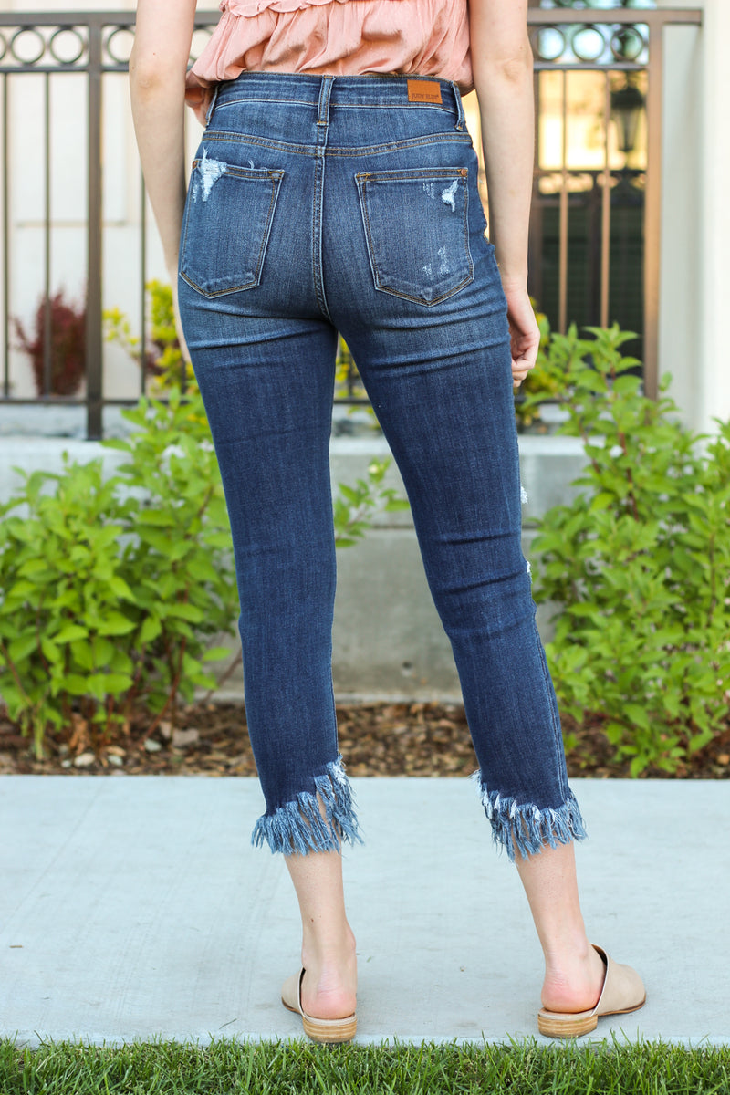 "Judy Blue Jeans  Collection: Spring 2020 Color: Dark Wash Cut: Ankle Skinny, 22"" Inseam Rise: High Rise, 10"" Front Rise Material: 66% COTTON / 21% Polyester / 11% POLYESTER / 2% SPANDEX Stitching: Classic Fly: Zipper Style #: JB82141 , 82141"