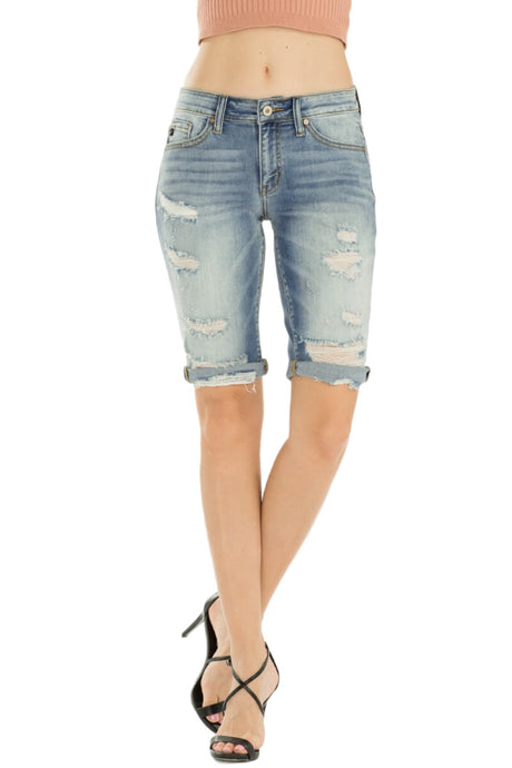 KanCan Jeans  Collection: February 2019   Style Name: Kevia-Anika  Color: Medium Wash  Cut: Bermuda Shorts  Rise: Mid-Rise  8.5