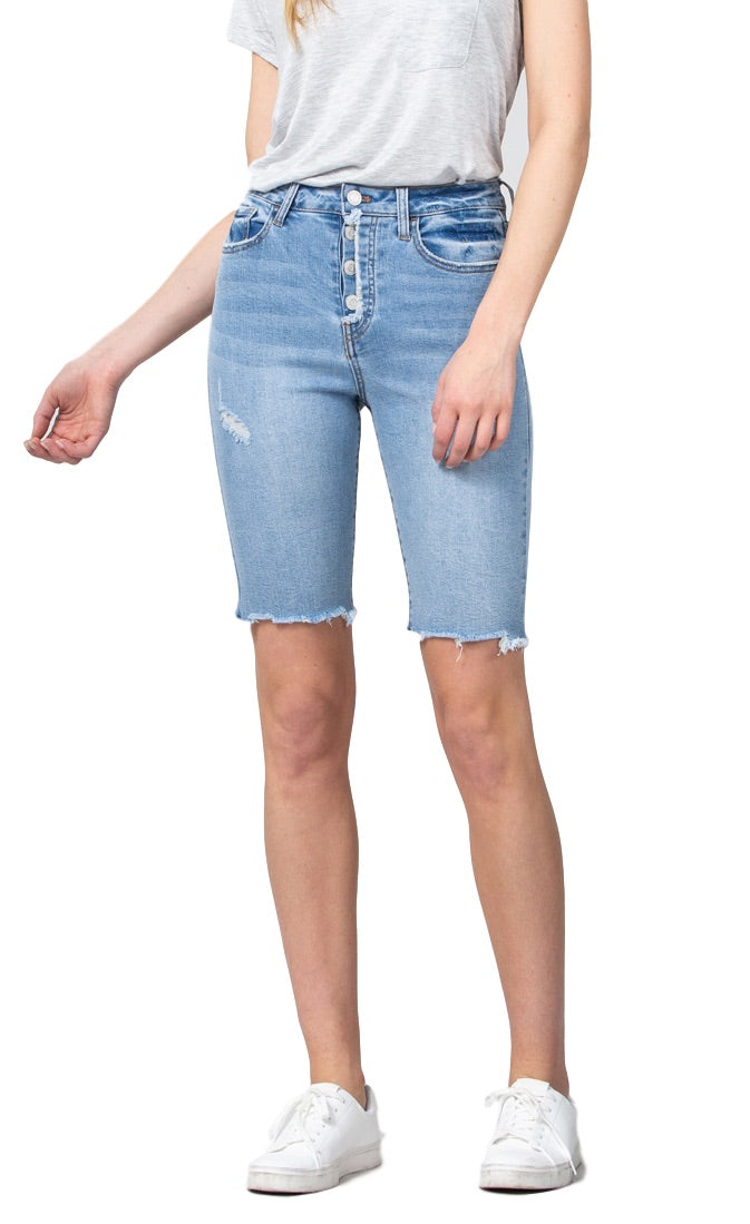 Klique B by Flying Monkey Jeans  Collection: Spring 2019  Title: Blue Magic Shorts  Color: Light Wash  Cut: Frayed Hem Bermuda Length  Rise: High Rise  Material: 72% Cotton 26% Polyester 2% Lycra  Machine Wash Separately In Cold Water  Stitching: Classic  Fly: Zipper   Style #: KL308  Size Guide: X-Small Junior Size 0 Womens Size 24 Small Junior Size 1 through 3 Womens Size 25 though 26 Medium Junior Size 5 through 7 Womens Size 27 though 28 Small Junior Size 9 through 1 Womens Size 29 though 30