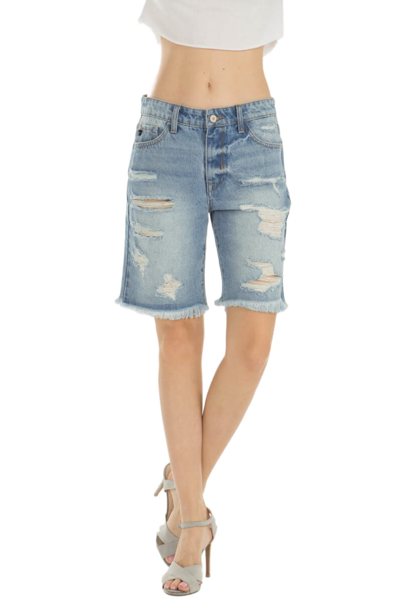 KanCan Jeans  Collection: June 2019   Style Name: Kevia-Kay Color: Light Wash Cut: Frayed Hem Bermudas Shorts High-Rise, 10