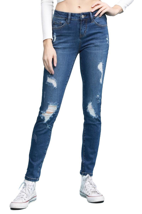 Judy Blue Collection: Winter 2019 Style Name: Addison Color: Dark Wash, Distressed Front & Back Cut: Cuffed Skinny, 29