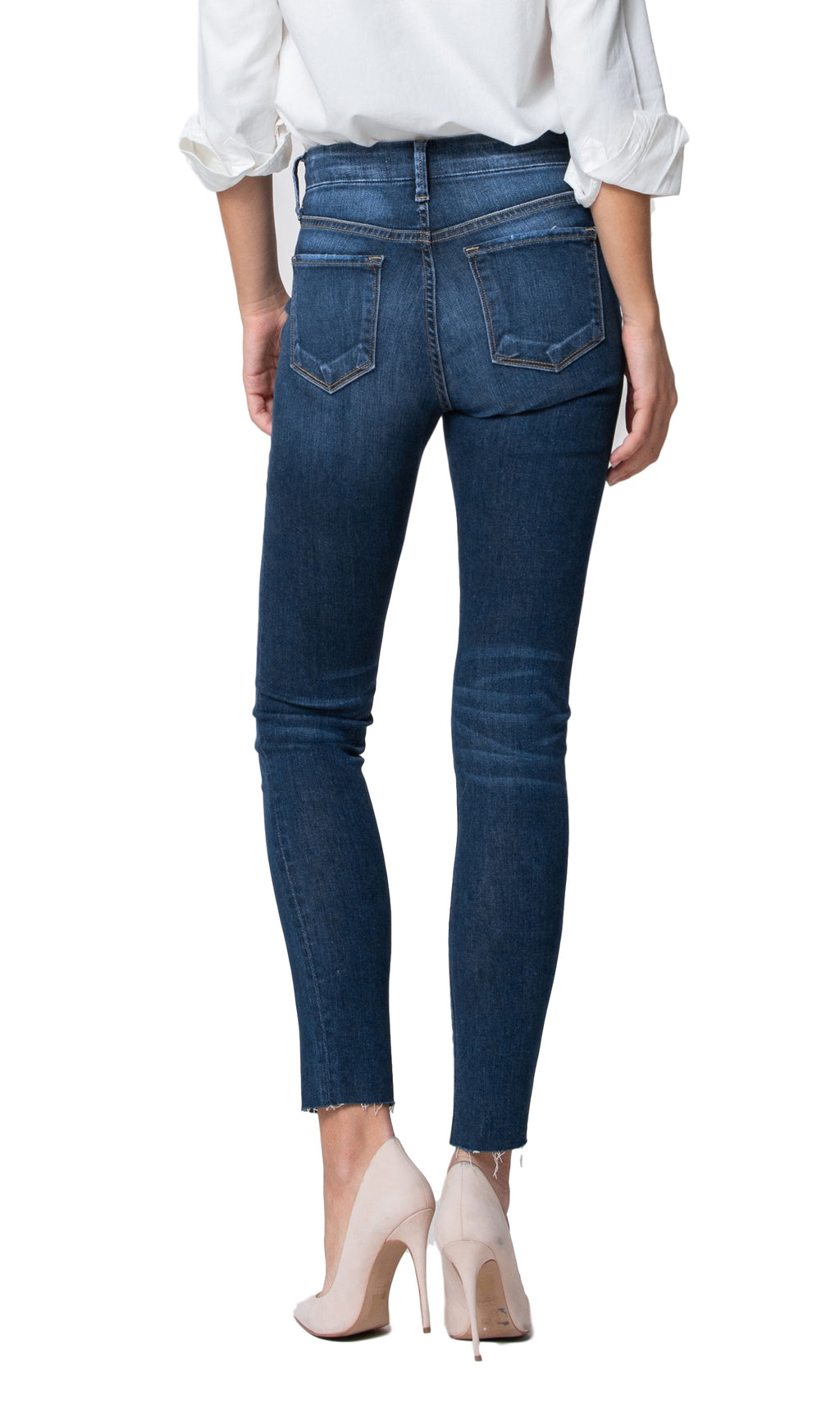 Flying Monkey Jeans  Collection: January 2019  Style Name: Varnish  Color: Medium Dark Wash  Cut: Ankle Skinny  Rise: Mid Rise  Material: 79%COTTON, 19% TENCEL, 2% LYCRA  Description: Frayed Hem Ankle Skinny   Fly: Zipper   Style #: Y2661  Contact us for any additional measurements or sizing.  True to size per manufacture standard
