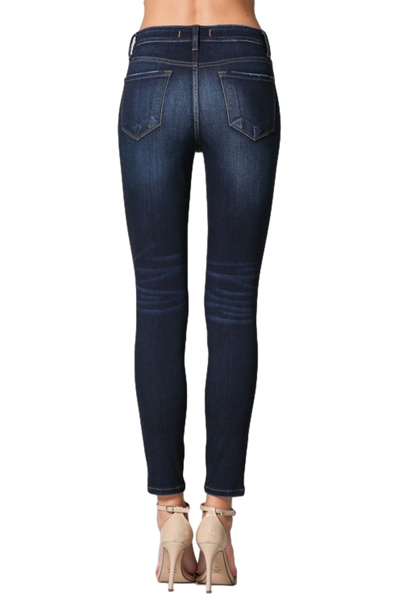 "Flying Monkey Jeans Collection: Pre-Fall 2019 Style Name: Institute  Color: Dark Wash Cut: Ankle Skinny, 27"" Inseam Rise: High-Rise Material:  59% COTTON, 21% RAYON, 14% MODAL, 9% POLYESTER, 2% SPANDEX Machine Wash Separately In Cold Water Stitching: Classic Fly: Zipper Style #: Y2810 Sizes Compared To Womens Size 24/00 25/0 26/2 27/4 28/6 29/8 30/10  Sizes Compared To Juniors Size 24/0 25/1 26/3 27/5 28/7 29/9 30/11"