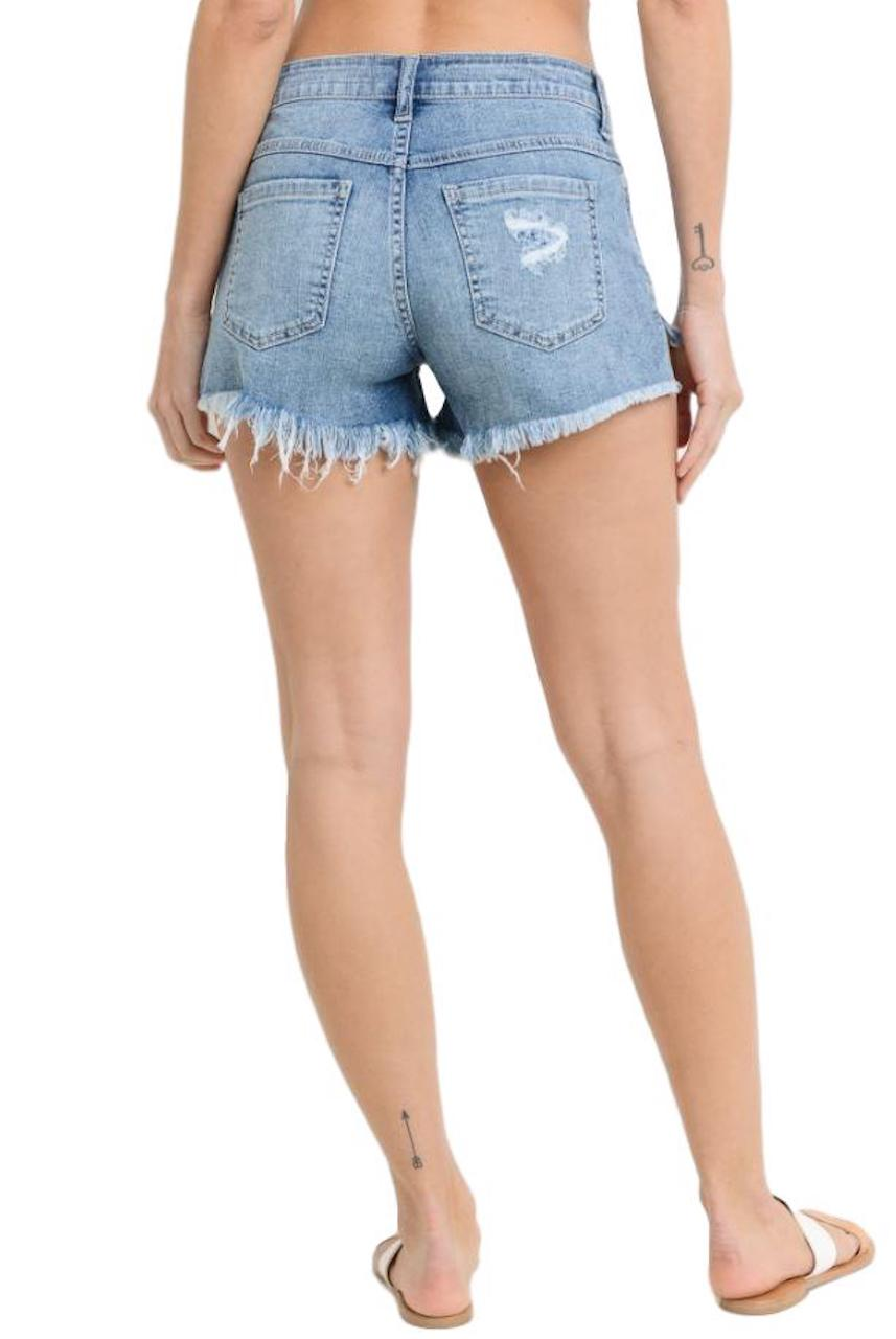 Mid Rise Button Fly Shorts