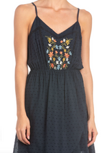 Miss Me Collection: Spring 2020 Style Name: Floral Angel Color: Floral Navy Cut: V-Neck Design: Slip right into angelic style with this must-have surplice dress featuring floral embroidery at front, lace-up detailing at the back, a v-neckline, and adjustable cami straps. Self: 100% Rayon Style #: MD0184T Contact us for any additional measurements or sizing. True to size per manufacture standard