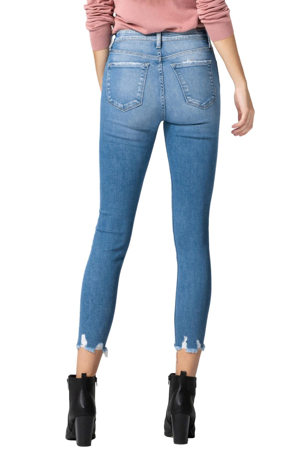 "Flying Monkey Jeans Collection: January 2020 Style Name: Fleeting  Color: Medium Wash Cut: Ankle Skinny, 27"" Inseam Rise: High-Rise, 9-10"" Front Rise Material: 93% COTTON, 5% POLYESTER, 2% LYCRA SPANDEX Machine Wash Separately In Cold Water Stitching: Classic Fly: Zipper Style #: Y3429"