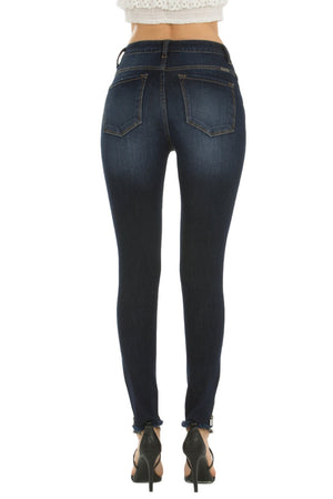 "KanCan Jeans  Collection: May 2019  Style Name: Marisa-Jay  Color: Dark Wash  Cut: Skinny, 27"" Inseam  Rise: Mid-Rise, 9.5"" Front Rise  Material: 68.8% COTTON 17.1% POLYESTER 9.2% RAYON 4.9% SPANDEX  Fly: Zipper    Style #: KC7268D   Contact us for any additional measurements or sizing.  True to size per manufacture standard  Kan Can Size Guide:  Compared to Juniors: 0/23 1/24 3/25 5/26 7/27 9/28 11/29 13/30 15/31  Compared to Womens: 23/0 24/2 25/2 26/4 27/6 28/8 29/10 30/12 31/14"