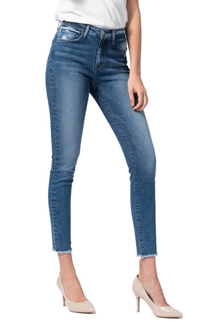 "Flying Monkey Jeans Collection: September 2019 Style Name: Free Spirit  Color: Medium Wash Cut: Ankle Skinny, 27"" Inseam Rise: High-Rise Material: 93% COTTON / 5% T400 / 2% LYCRA Machine Wash Separately In Cold Water Stitching: Classic Fly: Zipper Style #: Y3291 Sizes Compared To Womens Size 24/00 25/0 26/2 27/4 28/6 29/8 30/10 31/12 32/14 Sizes Compared To Juniors Size 24/0 25/1 26/3 27/5 28/7 29/9 30/11 31/13 32/15"