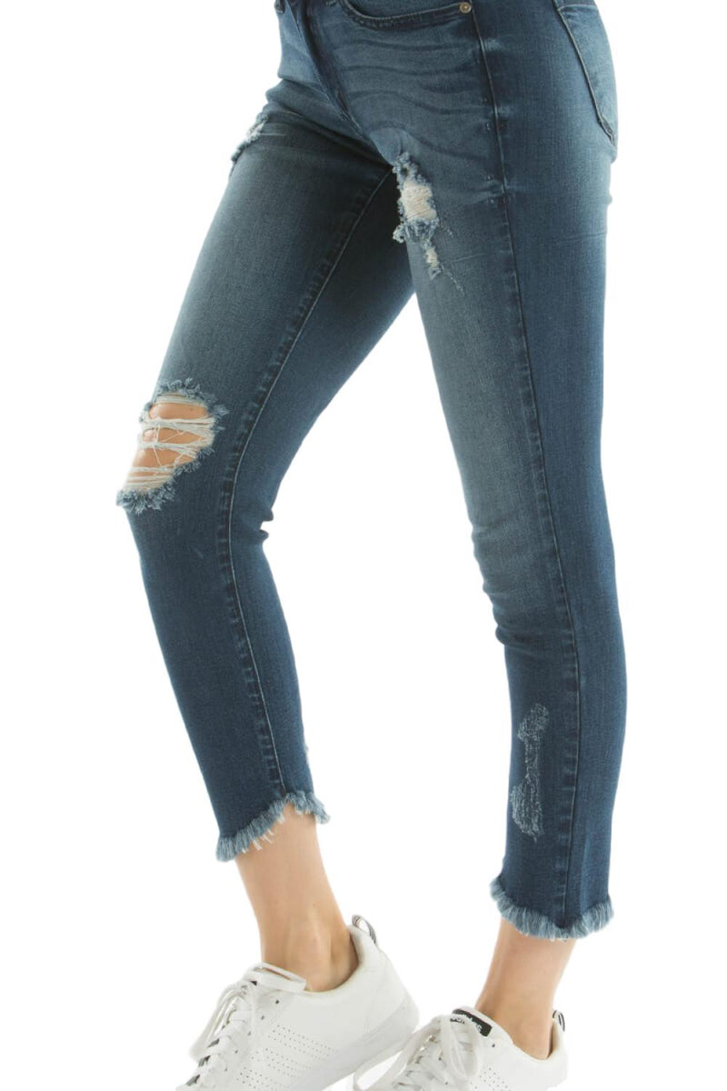 "KanCan Jeans  Collection: Spring 2020 Style Name: Zoe Color: Dark Wash Cut: Crop Skinny, 24"" Inseam Rise: Mid-Rise, 8.5"" Front Rise Material:  54% COTTON 34%RAYON 10% POLYESTER 2%SPANDEX Stitching: Classic Fly: Zipper Style #: KC6108D  Contact us for any additional measurements or sizing.  Kan Can   Size Guide: 0/23 1/24 3/25 5/26 7/27 9/28 11/29 13/30 15/31  Sizes Compared To Women's Size 23/0 24/2 25/2 26/4 27/6 28/8 29/10 30/12 31/14"