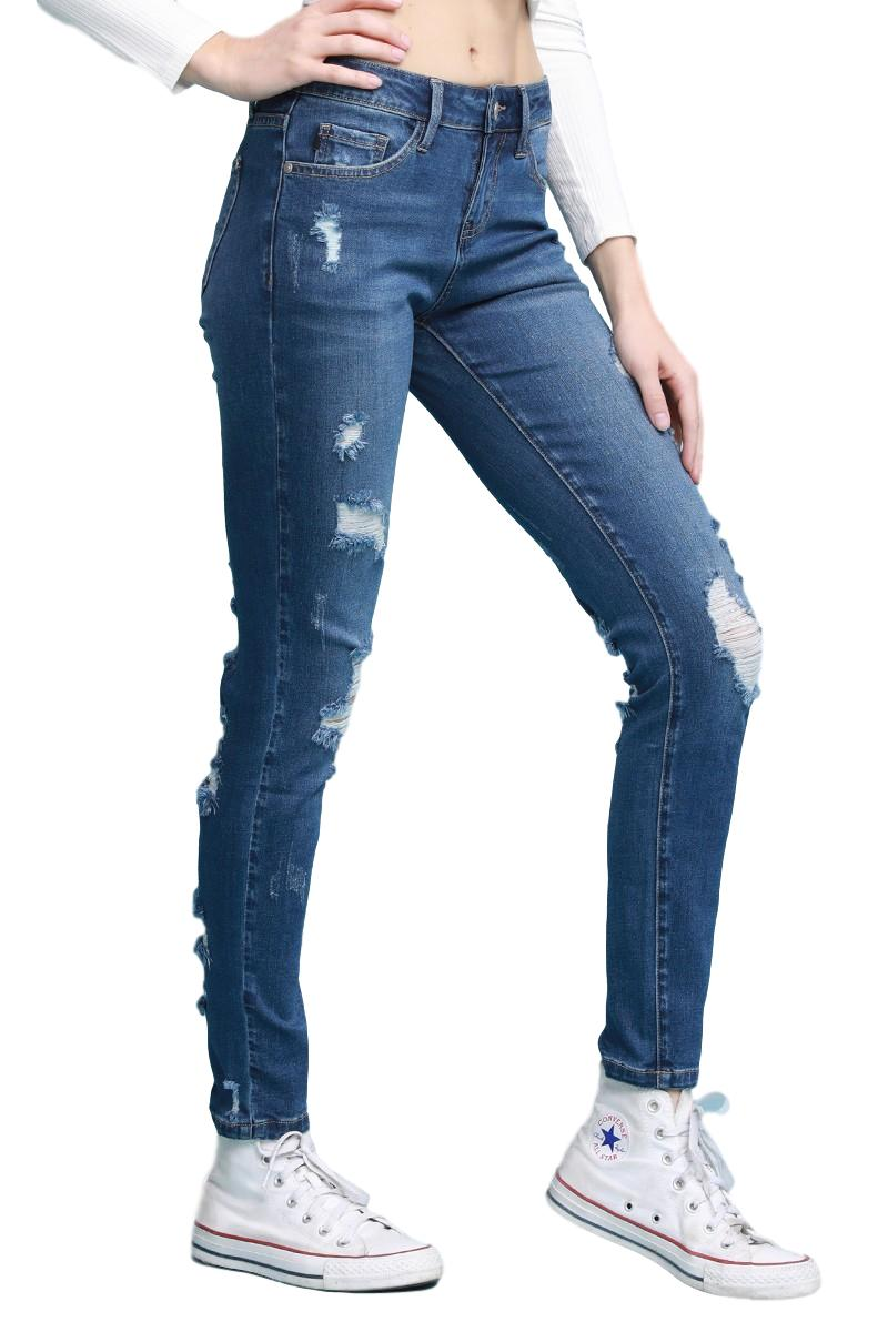 "Judy Blue Collection: Winter 2019 Style Name: Addison Color: Dark Wash, Distressed Front & Back Cut: Cuffed Skinny, 29"" Rise: Mid-Rise. 8.5"" Front Rise Material: 75% Cotton / 23% Polyester / 2% Spandex Machine Wash Separately In Cold Water Stitching: Classic Fly: Zipper Style #: JB8479 Contact us for any additional measurements or sizing.  Judy Blue Size Guide:   Compared to Juniors: 0/24 1/25 3/26 5/27 7/28 9/29 11/30 13/31 15/32  Compared to Womens: 24/00 25/0 26/2 27/4 28/6 29/8 30/10 31/12 32/14"