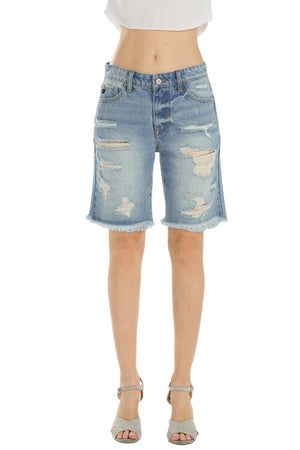 "KanCan Jeans  Collection: June 2019   Style Name: Kevia-Kay Color: Light Wash Cut: Frayed Hem Bermudas Shorts High-Rise, 10"" Front Rise Bermuda Shorts 9"" INSEAM 100% COTTON Machine Wash Separately In Cold Water Stitching: Classic Fly: Zipper Style #: KC5189M  Contact us for any additional measurements or sizing.  X-Small = 24/1 Small = 25/3 Medium = 26/5-27/7 Large = 28/9 X-Large 29/11"