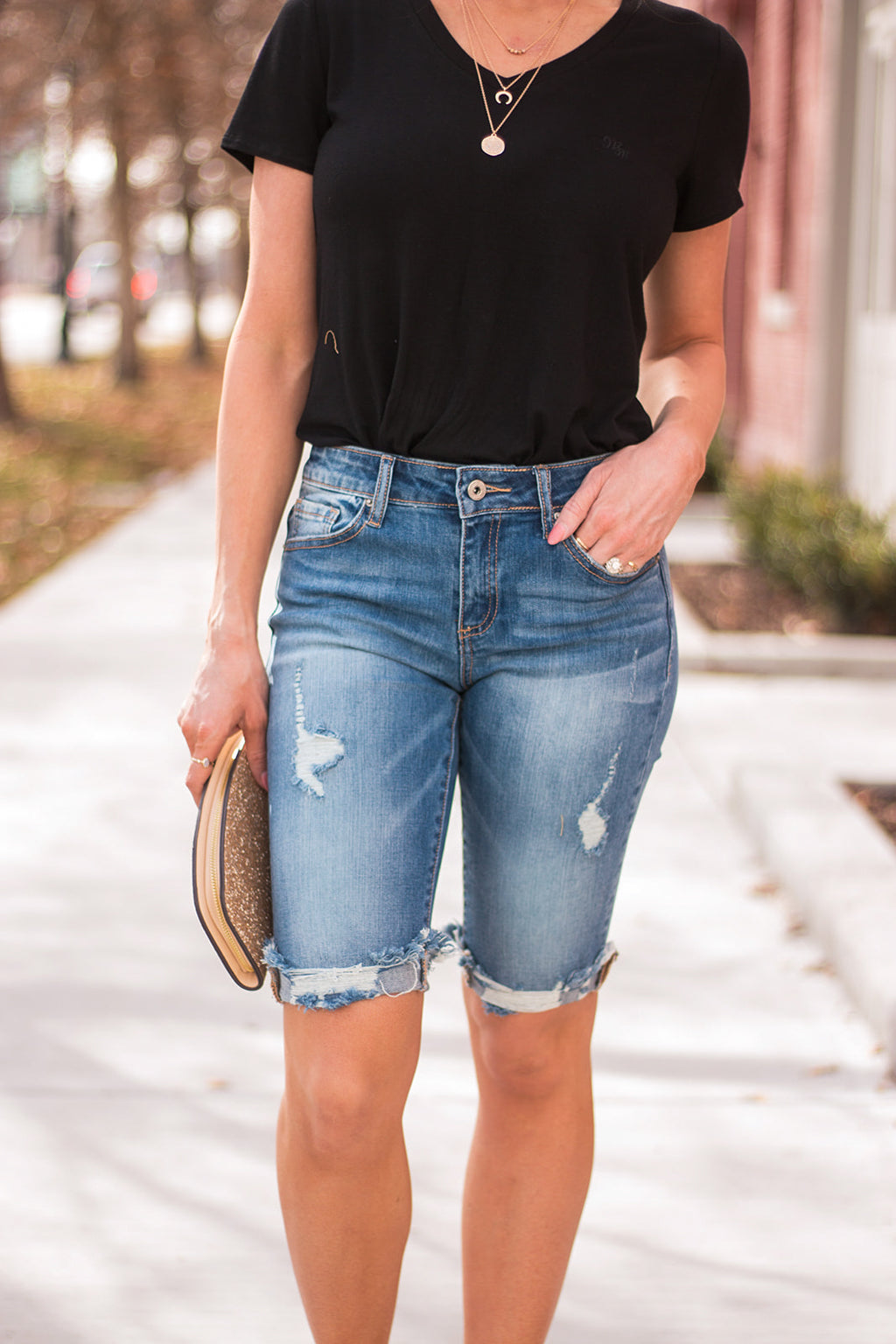 "Distressed Bermuda Shorts By Special A  Collection: Spring 2020 Bermuda Shorts Mid Rise waist, 8.5"" Front Rise Shorts, 13"" Inseam Medium Wash Material: 98% COTTON 2% Elastane Stitching: Classic Fly: Zipper Style #: IS5636M  Contact us for any additional measurements or sizing.  Small/1-3 Medium/ 5-9 Large/9-13"