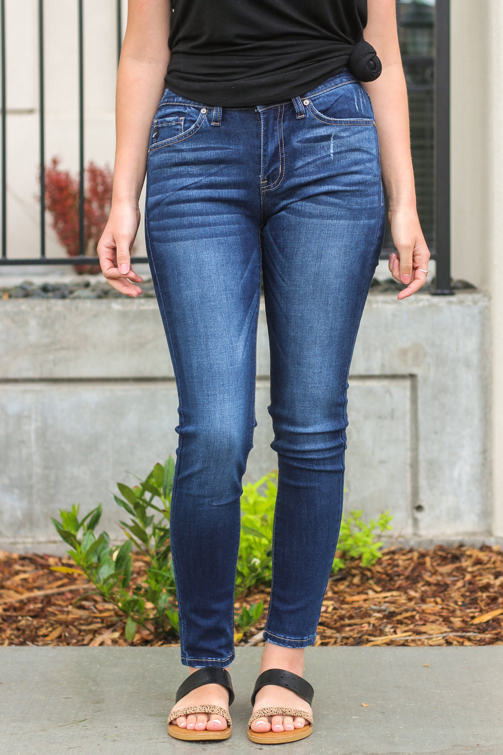 "Kan Can Jeans Collection: Summer 2020 Color: Dark Wash Cut: Skinny, 29.5"" Inseam Rise: Mid-Rise, 8.5"" Front Rise  Material: 54% COTTON 34% RAYON 10% POLYESTER 2% SPANDEX Stitching: Classic Fly: Zipper Style #: KC7095HRD"
