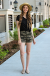 "Kan Can Jeans  Your new favorite shorts! Pair with your favorite black top and sparkly sandals and you have the perfect combo for outside fun.  Collection: Spring 2020 Color: Green Camo Material: 98%COTTON, 2%SPANDEX Cut: Shorts, 3.5"" Inseam with 1"" Fold Rise: Mid Rise, 11"" Front Rise Style #: KC6316CD Contact us for any additional measurements or sizing."
