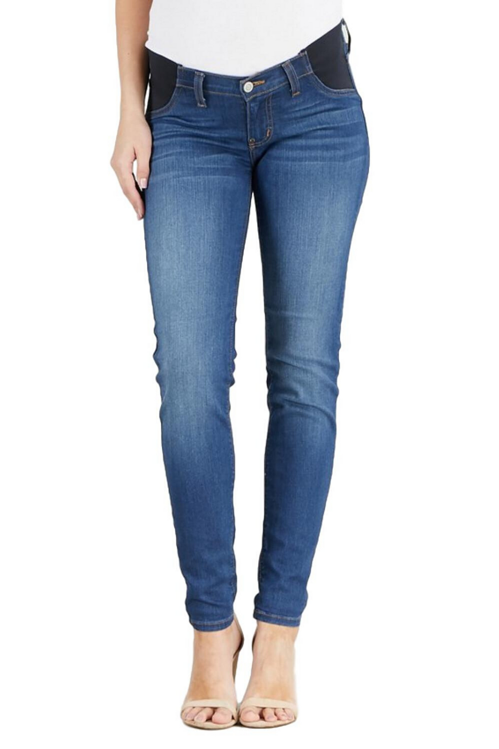 "Judy Blue Maternity Jeans Collection: Spring 2020 Color: Dark Wash Cut: Skinny, 29"" Inseam Rise: Low-Rise with Stretch Band, 6"" Material: 59% COTTON / 23% Cotton 17% POLYESTER / 1% SPANDEX Style #: JB8395 Please contact us for any specific measurements or size details."