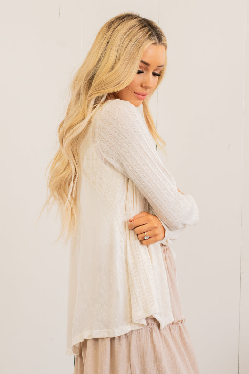 Lace Back Waterfall Cardi