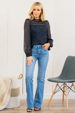 "JBD Label by Just USA Jeans  Color: Medium Blue Cut: Skinny Flare, 33"" Inseam High Rise, 10"" Front Rise   Stitching: Classic 93% COTTON, 5% POLYESTER, 2% SPANDEX Fly: Zipper Style #: DP480-MD Contact us for any additional measurements or sizing.  Haley wears a size small top, a 25 in jeans and a small in tops. She is wearing a size 25 in these jeans."