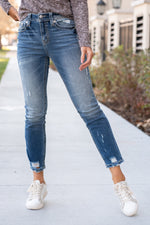 "Miss Me  The Heaven collection from Miss Me features a clean look with small embellished details. Look fierce in this pair of skinny jeans featuring a 5 pocket design, whiskering and distressing throughout. Collection: Winter 2020 Wash: Medium Blue Inseam: 28"" Ankle Straight Cut 96% Cotton, 3% Polyester, 1% Elastane High Rise, 10.5"" Front Rise Embellished Rivets Style #: H3636ST13 Contact us for any additional measurements or sizing."
