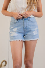 "Just USA Jeans  Color: Light Blue Cut: Shorts, 2.5"" Inseam High Rise, 11.5"" Front Rise   Stitching: Classic 100% Cotton Fly: Zipper Style #: JH214N-LT Contact us for any additional measurements or sizing.   Mckenna is 5'10"" and 122 pounds. She wears a size small top, a 4 in jeans and a size 8.5 in shoes. She is wearing a size small in these shorts."