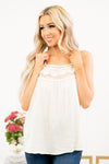 Mine by E&M Blu Pepper  Pair this camisole under your favorite cardis or jackets.  Collection: Winter 2020 Color: Cream Neckline: Neck with Lace Sleeve: Camisole with Adjustable Straps 87% Rayon 13% Nylon Style #: EM5988-Cream Contact us for any additional measurements or sizing.  Haley wears a size small top, a 25 in jeans and a small in tops. She is wearing a size small in this camisole.