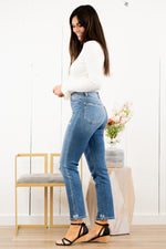 "VERVET by Flying Monkey Jeans Collection: Spring 2021 Skinny, 28"" Inseam Slight Distressing  Rise: High Rise, 11"" Front Rise 93% COTTON, 5% POLYESTER, 2% SPANDEX Machine Wash Separately In Cold Water Stitching: Classic Fly: Zipper Style #: VT869C Contact us for any additional measurements or sizing.  Chloe is 5'8"" and 130 pounds. She wears a size 3 in jeans, a small top, and 8.5 in shoes. She is wearing a size 26 in these jeans."