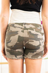 "KanCan Maternity Jeans  Collection: Spring 2021 Color: Camo Green Cut: Shorts, 5"" Inseam Rise: Low-Rise with Stretch Band, 5.5"" Material: 98% Cotton / 2% Spandex Style #: KC6361CD Contact us for any sizing questions or measurements."