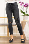 "Flying Monkey Jeans  A comfortable mid rise stretchy denim with distressed legs. Collection: Winter 2021 Name: Ally Cut: Ankle Skinny Fit, 27"" Inseam Rise: Mid Rise, 9"" Front Rise 65% COTTON, 21% RAYON, 11% POLYESTER, 3% SPANDEX Stitching: Classic Style #: Y3377 Contact us for any additional measurements or sizing.  Chloe is 5'8"" and 130 pounds. She wears a size 3 in jeans, a small top, and 8.5 in shoes. She is wearing a size 26/3 in these jeans."