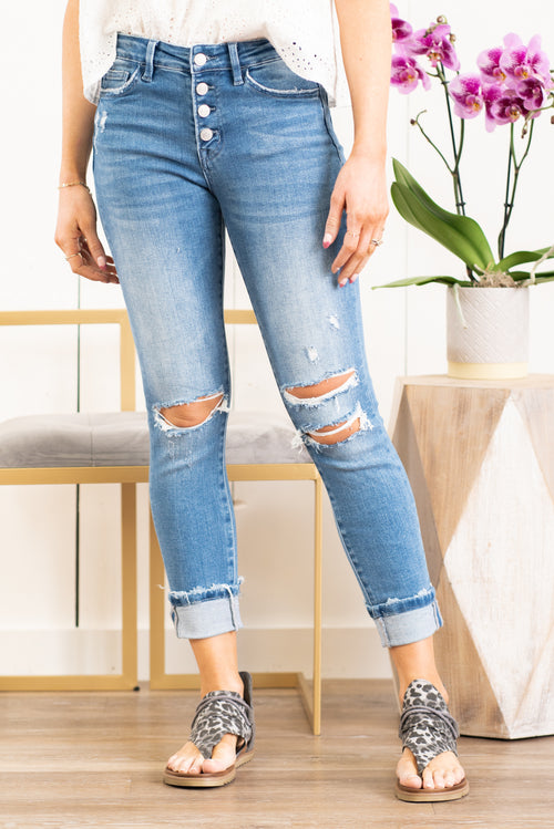 "VERVET by Flying Monkey Jeans Collection: Fall 2020 Skinny, 27"" Inseam Rise: High Rise, 9.5"" Front Rise 98% COTTON, 2% SPANDEX Machine Wash Separately In Cold Water Stitching: Classic Fly: Exposed Button Fly Distressed Ripped Legs Style #: T5069 Contact us for any additional measurements or sizing.  Chloe is 5'8"" and 130 pounds. She wears a size 3 in jeans, a small top and 8.5 in shoes. She is wearing a 26/3 in these jeans."