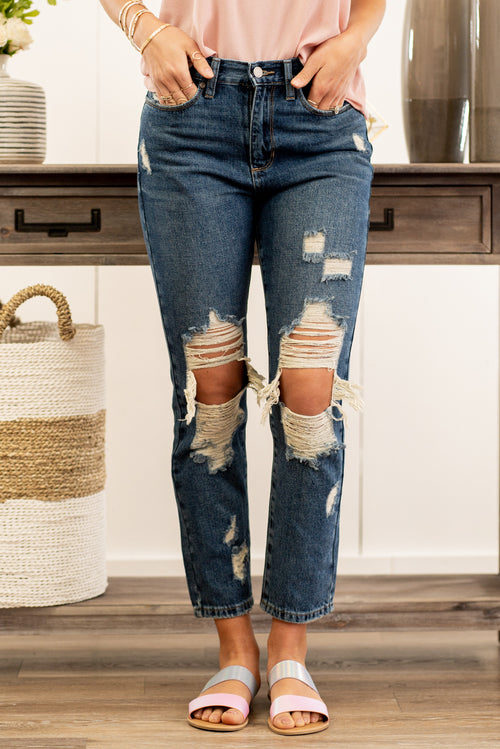 "JBD label by Just USA Jeans  Color: Dark Blue Cut: Ankle Skinny, 27"" Inseam High  Rise, 11"" Front Rise   Stitching: Classic Distressed Ripped Legs 100% Cotton Fly: Zipper Style #: DP429N-DK Contact us for any additional measurements or sizing.  Taylor wears a size 3 in jeans, a small top, and 8.5 in shoes. She is wearing a size 26/3 in these jeans."