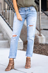 "KanCan Jeans Collection: Restock Fall 2020 Color: Light Wash Cut: Cuffed Boyfriend, 27"" Inseam Rise: Mid-Rise, 9"" Front Rise 99% Cotton 1% Elastane Stitching: Classic Fly: Zipper Style #: KC7175L Contact us for any additional measurements or sizing.  Haley is 5'6"" and wears size 1 in jeans, a small top and 7.5 in shoes. She is wearing a size 24/1 in these jeans."