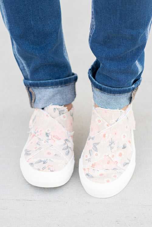 Slip On Shoes | Gyspy Jazz by Very G  These canvas slip-on shoes from Gyspy Jazz are comfortable and bold. Wear with all of your favorite denim. Style Name: Ivory Floral Sneakers Color: Pink Cut: Slip Ons  Rubber Sole Contact us for any additional measurements or sizing.