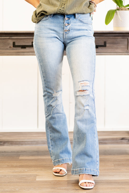 "KanCan Jeans  Collection: Core Style Skinny, 32"" Inseam  Mid Rise, 9.25"" Front Rise Medium Blue Wash  COTTON 94% POLYESTER 5% SPANDEX 1% Fly: Exposed Button Fly Style #: KC6327M-PT Contact us for any additional measurements or sizing.  Kristin wears a size small top, a 3 in jeans, and a 7 in shoes. She is wearing a size 25/3 in these jeans."
