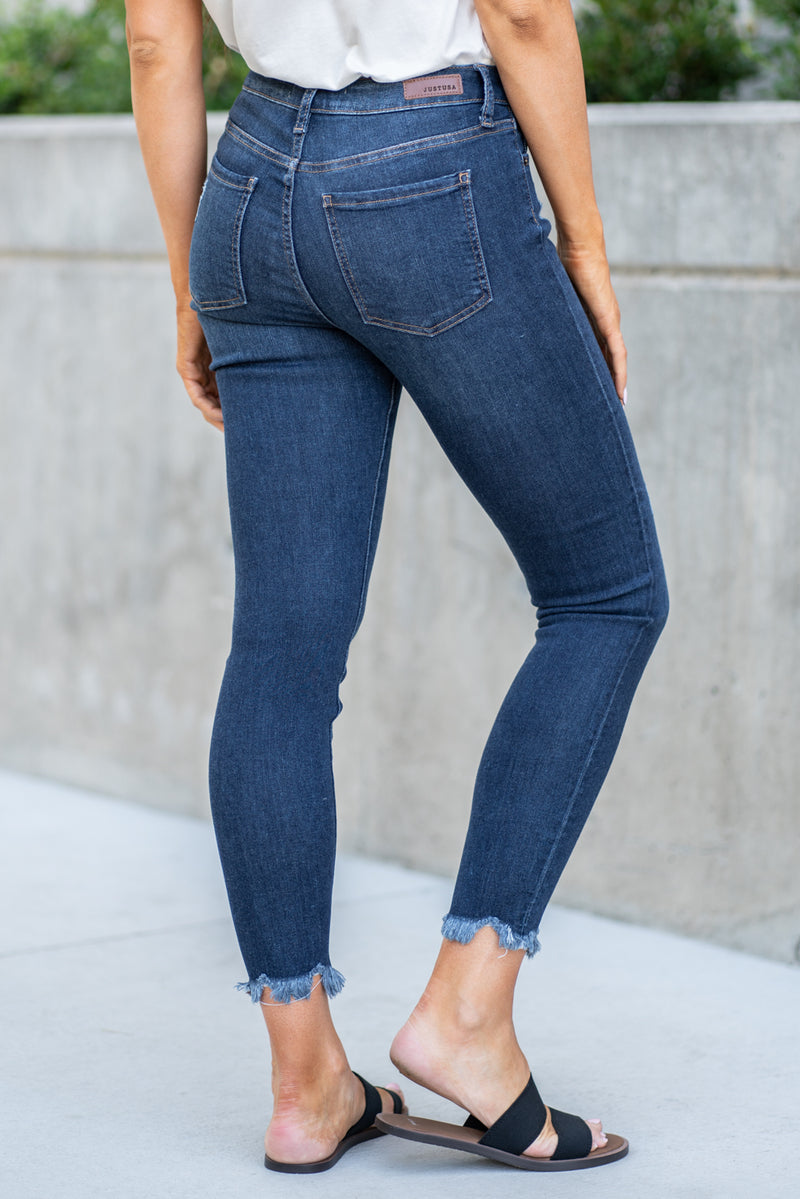 "Just USA Jeans  Color: Dark Wash Cut: Ankle Skinny, 27"" Inseam Rise: Mid Rise, 8.75"" Front Rise Material: 26% COTTON, 54% RAYON, 19% POLYESTER, 1% SPANDEX Machine Wash Separately In Cold Water Stitching: Classic Fly: Zipper Style #: JP078-DK"